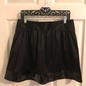 Studio Y Black Satin & Sequin Skirt M
